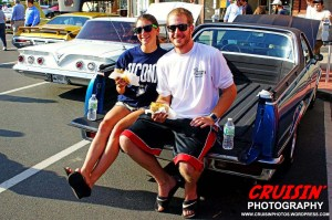 Josh Wilcox and Sarah Massicott  enjoyed some local fare while sitting in the back of Josh's 1979 Chevy El Camino.