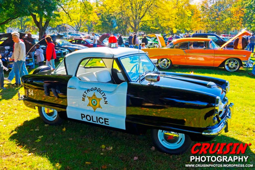 West Hartford residents Dean and Cindy Kulpanowski brought along the perfect car for the Wethersfield Police Cadets car show – their 1954 Nash Metropolitan.